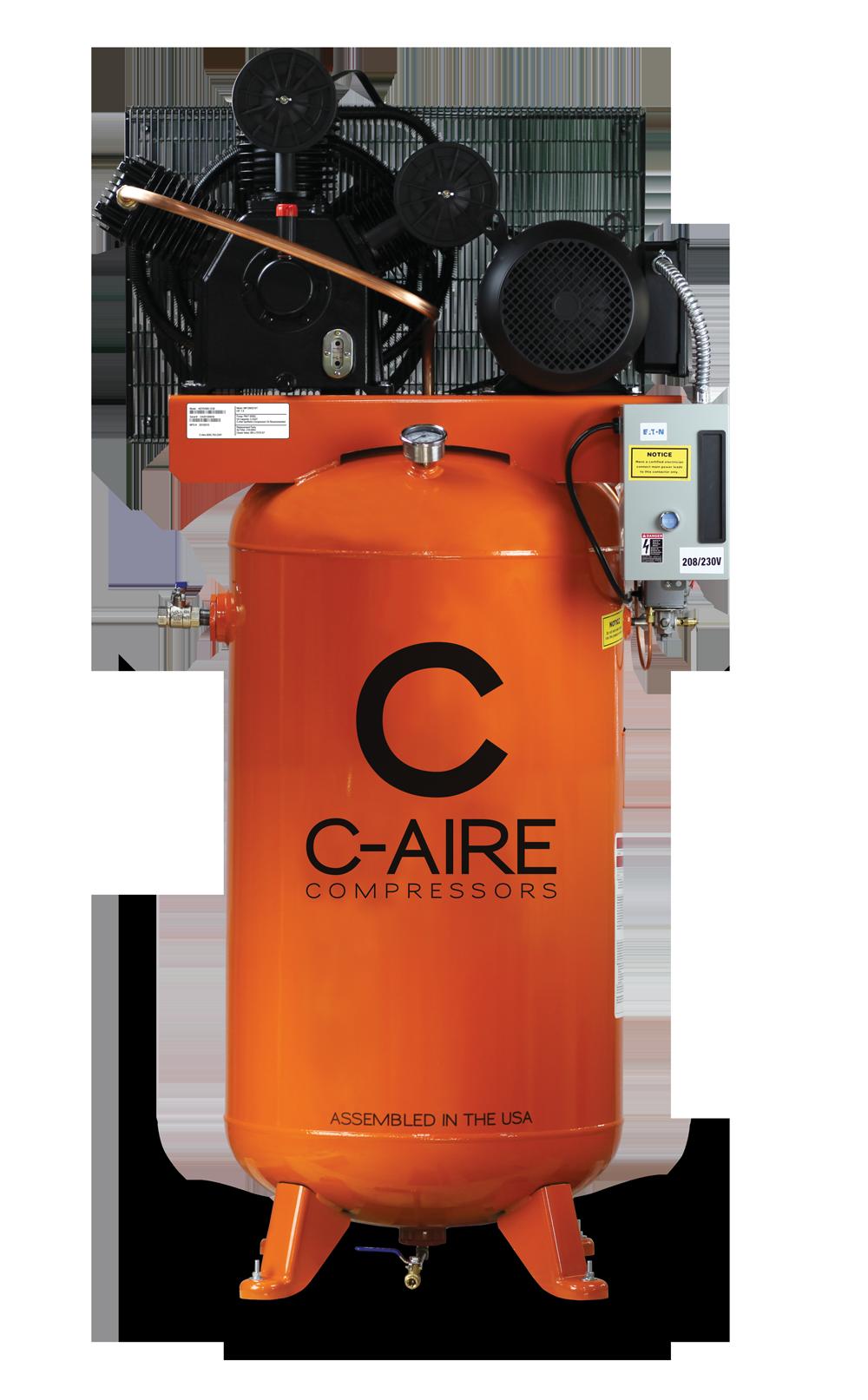 7.5HP 80 Gallon Simplex Piston Air Compressor - C-Aire Compressors - A075V080-1230