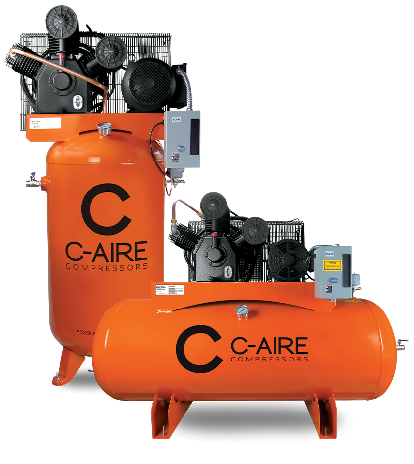 Piston Air Compressor from C-Aire - Vertical and Horizontal Tanks